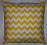 "Cushion Cover in Riley Blake Chevron Yellow White Stripe Zig Zag 14"" 16"" 18"" 20"""
